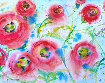 large abstract art, original poppy watercolor painting, large flower art, wall decor, modern art, Janice Trane Jones, 20 x24 frame ready