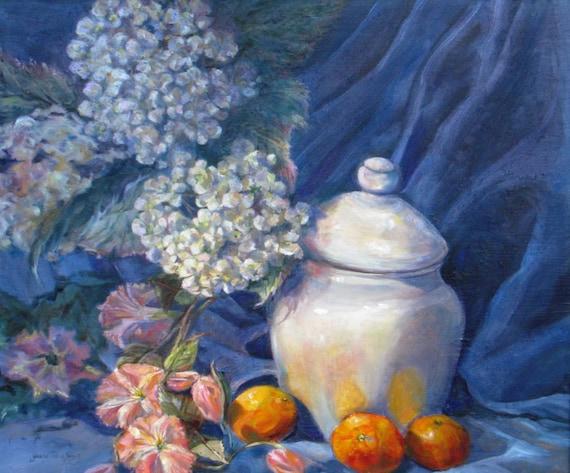 Large still life art, Original oil canvas painting, impressionism still life art, hydrangeas art, Janice Trane Jones, wall decor, 20 x 24