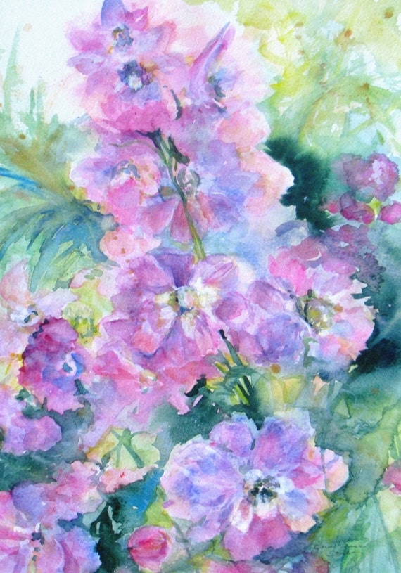 Delphinium Original Watercolor Painting 25 Off Sale Abstract