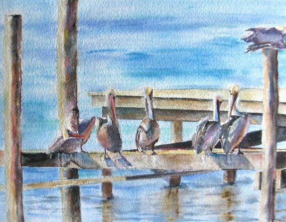 Sea Bird Gathering Place Original watercolor painting impressionism ocean landscape pelicans on dock 11 x 14