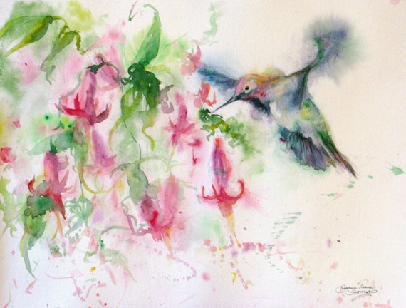 Hummingbird Watercolor Signed Art Print Hummingbird Art
