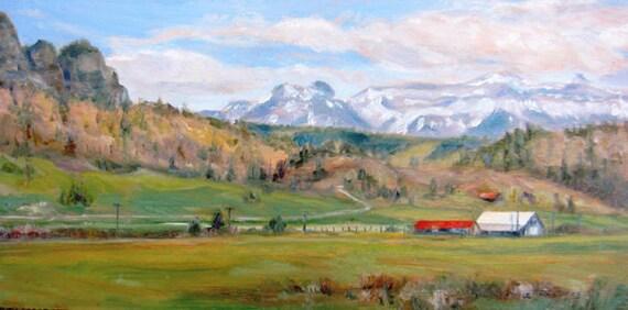 Rocky Mountain landscape original oil painting colorado western art impressionism farm mountains 8 x 16 fine art