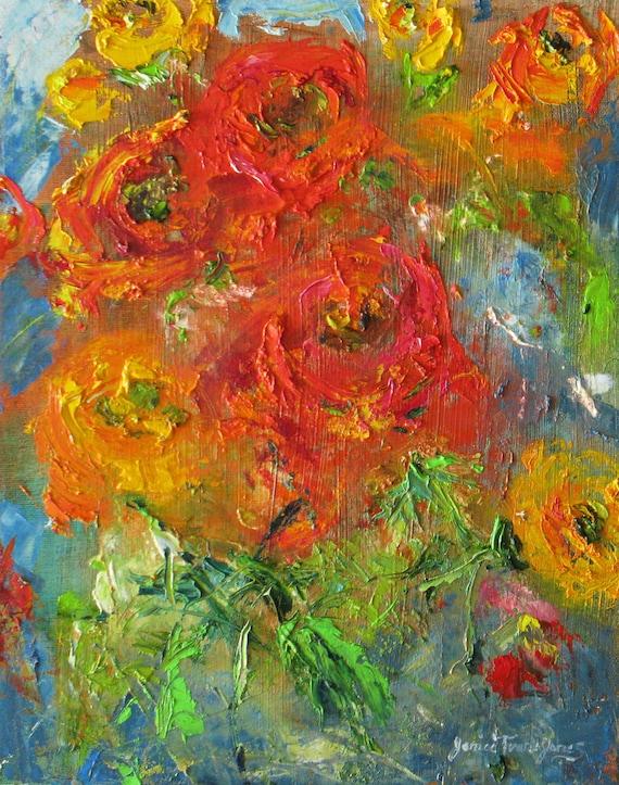 abstract impasto poppies original oil painting canvas flower garden landscape palette knife floral fine art 11 x 14
