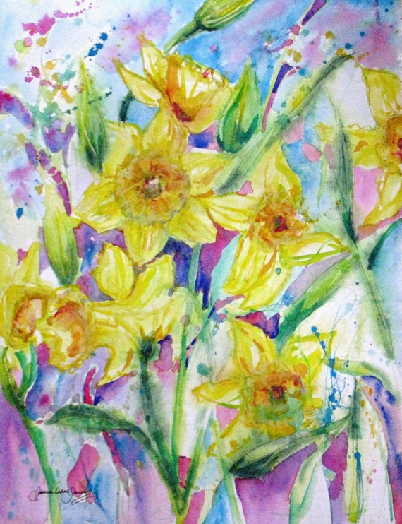 original watercolor painting daffodils abstract contemporary garden landscape flowers spring impressionism 11 x 15 fine art