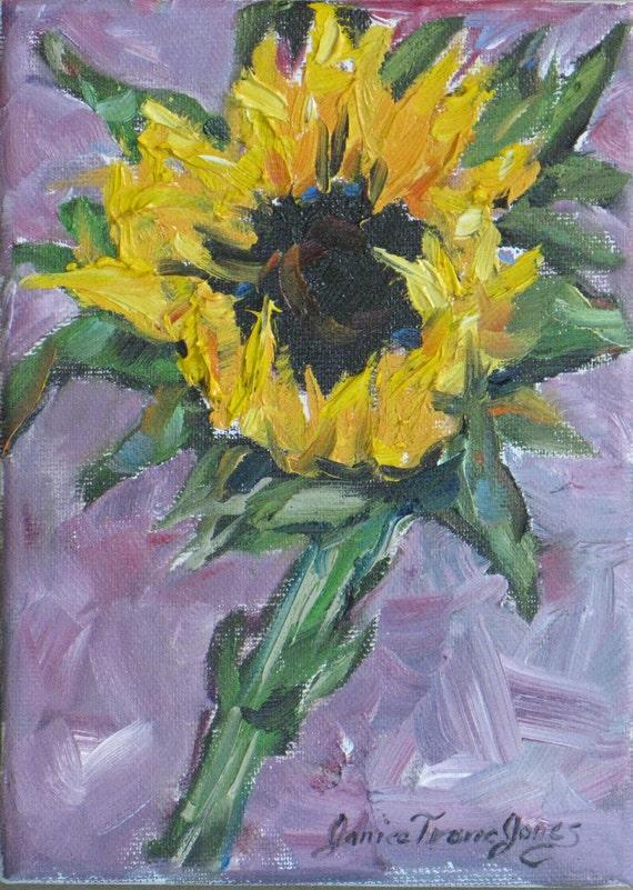 small Sunflower original oil painting impasto impressionism abstract canvas flower garden portrait 5 x 7 fine art