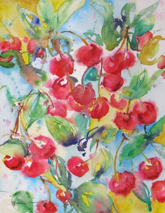 abstract cherry original watercolor painting contemporary fruit art garden landscape 12 x 16 frame ready