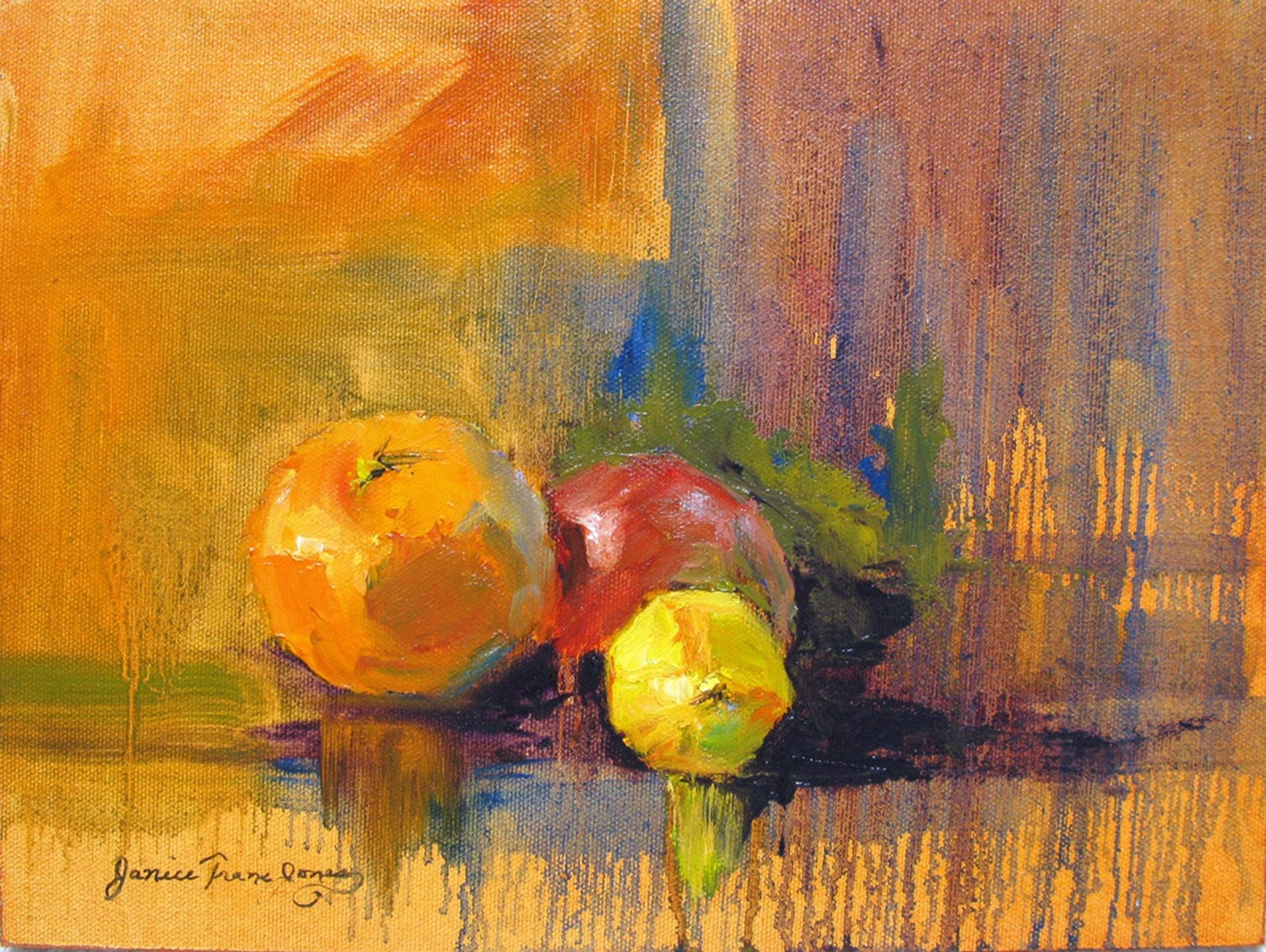 Abstract Still Life Oil Painting Print Fruit Giclee Print