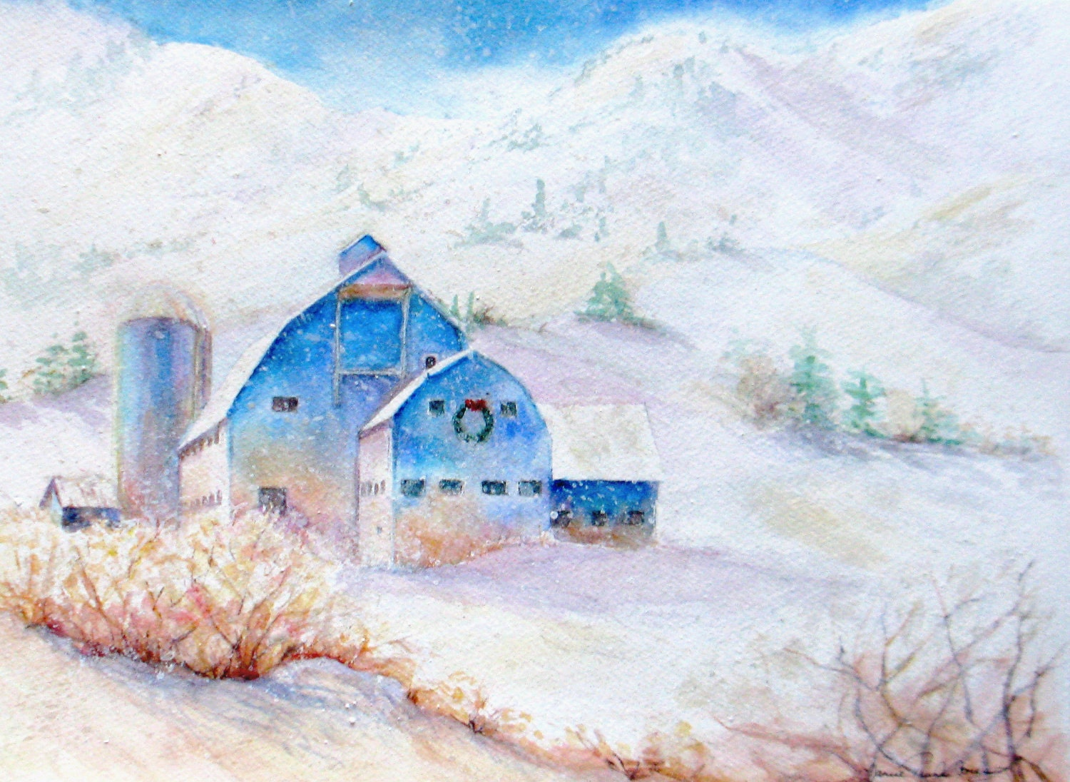 Farm Winter Snow Original Watercolor Painting By