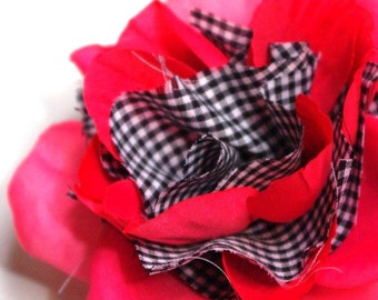Shabby Chic Hotpink Rose with Gingham
