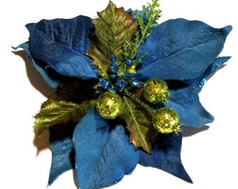 Teal Poinsettia with Green Glitter Holly Berries Hair Clip