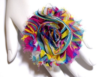Multi Colored Fabric Rosette Adjustable Filigree Ring