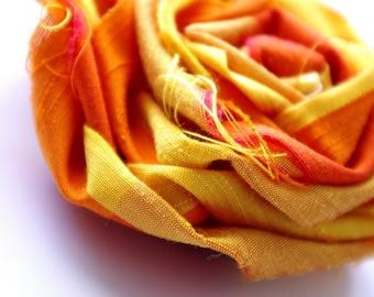 Lustrous Gold and Orange Taffeta Fabric Rosette Hair Clip