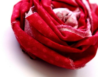 Red and Pink Polka Dot Fabric Rosette Hair Clip