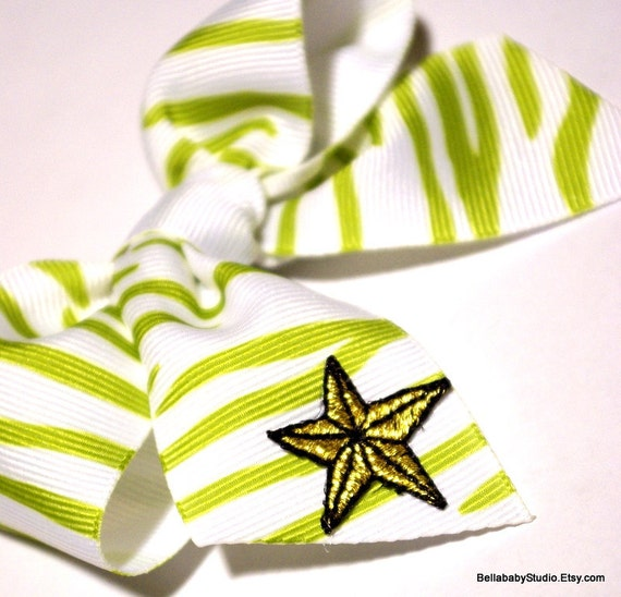 Green Zebra Print Hair Bow Nautical Star Tattoo Enter CYBER30 at checkout for 30% off