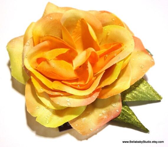 Orange Green Dewdrop Rose Rockabilly Pinup Hair Clip