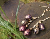 Upcycled Vintage 80's Gold Tone Multicolored Earrings, Jewel Speckled Egg Dangle Earrings, Disco