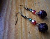 Christmas Bali Style Red and Green Dangle Earrings