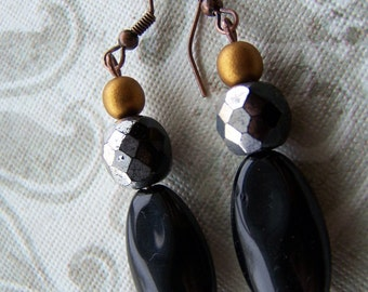 Black and Bronze Sparkle Dangle Earrings