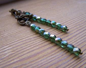 Dainty Green Czech Glass Dangle  Earrings