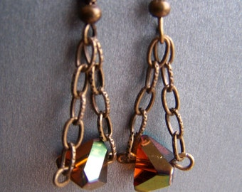Amber Glass Nugget Chain Earrings