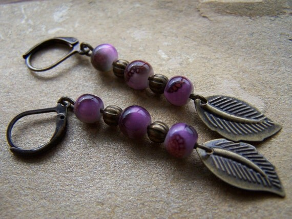 Antique Brass Purple Bead Dangle Earrings