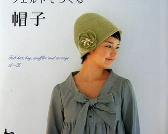 Out-of-Print Needle Felt Wool Hat, Muffler and Corsage - Japanese craft book
