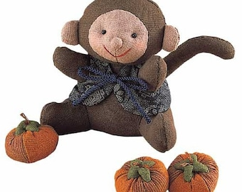 Ideal Playing Toy. Discontinued Patchwork Monkey Doll and Persimmons - Japanese craft kit