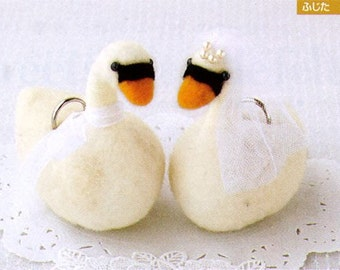 Forever Love. Handmade Wedding Swan Ring Holder - Japanese felt wool craft kit
