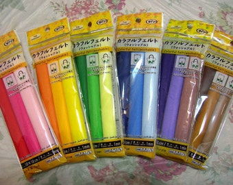 Japanese Washable Colourful Felt Set (6 colours to choose from)