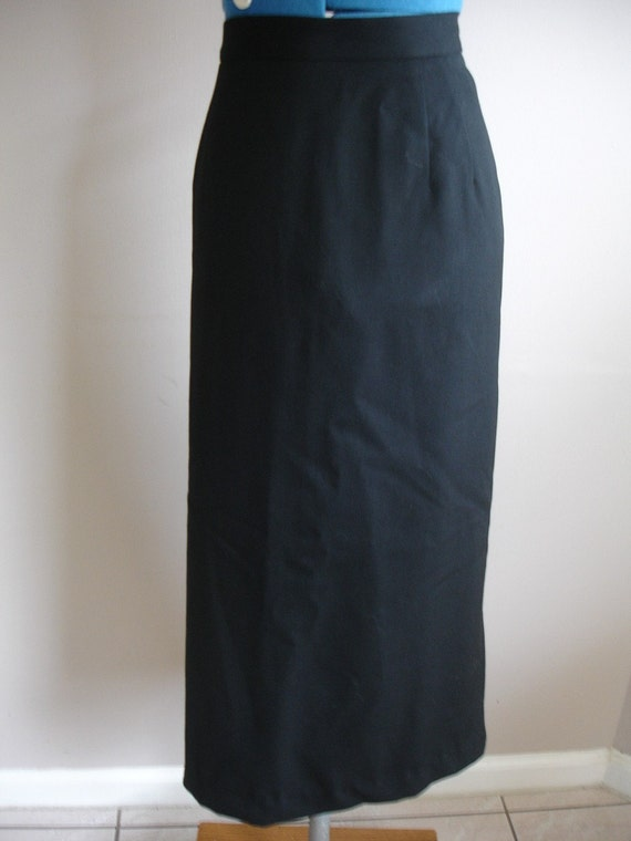 Skirt Black Pencil  Preston and York Wool Size 16 Mid Calf Length Vintage Lined