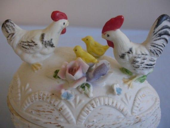 Vintage Egg Trinket Box Hens and Chics  Flowers