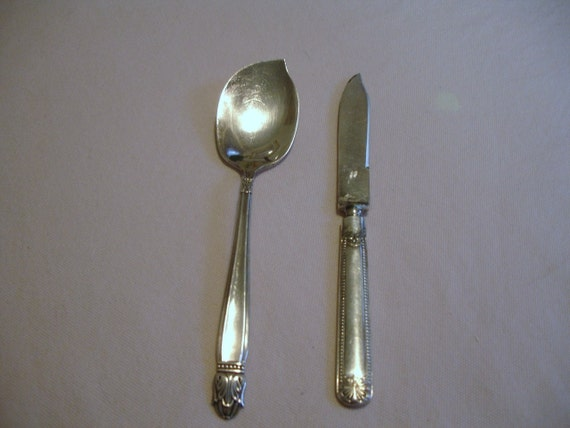 Silverplate Vintage Jelly Spoon and Butter Knife Holmes and Edwards Set of 2 Pieces
