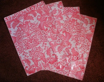 Paradise Oilcloth Placemats Trimmed in White-Set of 2