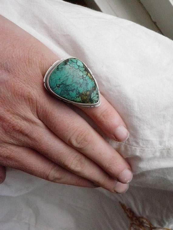 Solitaire Feather Tibetan Turquoise Ring