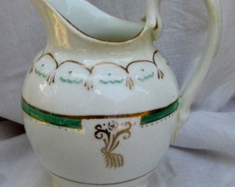 SALE: Regency style cream pitcher, Vintage Cream Pitcher, Handpainted detail