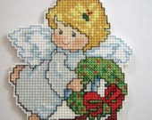CROSS STITCHED ANGEL with wreath