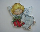 CROSS STITCHED ANGEL with present