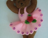 Bucilla Felted PINK DRESS BEAR from the Ballet Bear Collection Christmas Ornament