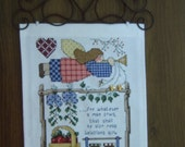 Christian Cross Stitch Needlecraft Banner Completed on Decorative Wire Hanger