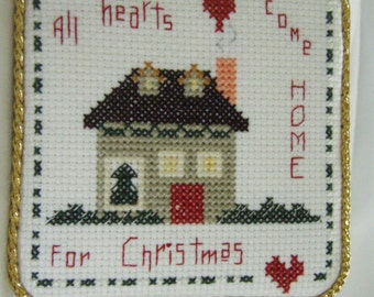Cross Stitched HOME For CHRISTMAS ORNAMENT