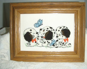 Crewel Needlework 3 DALMATIAN PUPPIES Picture Completed and Framed
