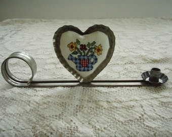 Metal Candle Holder with Needlecraft Cross Stitched  Heart Completed and Mounted on Metal Heart