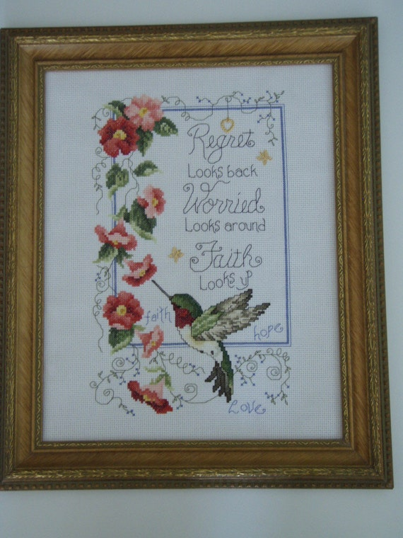 Needlecraft Cross Stitched  HUMMINGBIRD WISDOM SAMPLER Completed
