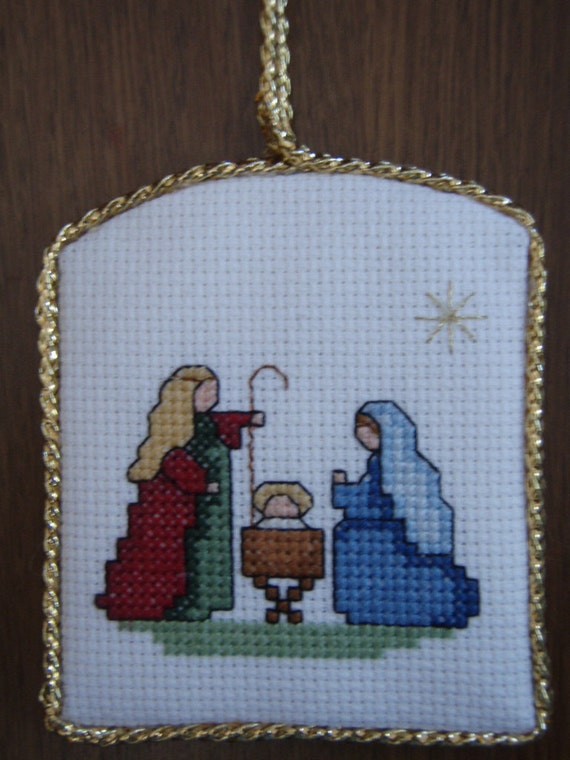 Cross stitched MARY, JOSEPH & Baby JESUS Christmas Ornament