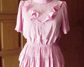 Vintage Pink Raffle and Pleated Dress - Blouse and Skirt