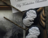 Victorian Elegance - Beautiful Black and White Cameo Hair Pins