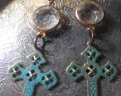 Edwardian Verdigris Church Earrings