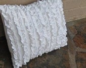 White ruffle pillow cover - 18 x 18 inches