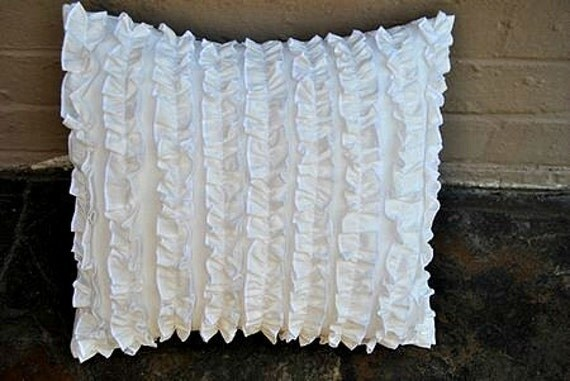 white ruffle pillow cover 20 x 20 inches. Black Bedroom Furniture Sets. Home Design Ideas