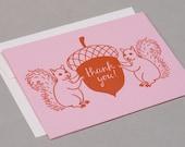 Letterpress Squirrel Thank You Card - Pink\/Orange